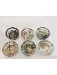 GLASS ASHTRAY LADY X 6
