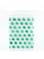 Mini Clear Bag Zip Up 50 x 50mm With Leaf Print